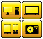 Computer, tv, photo and smartphone icons — Stockvector