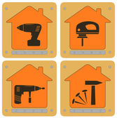Planch icons with house and tools — Stock Vector