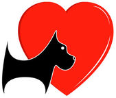 Icon with dog and heart — Stock Vector