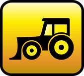 Glossy tractor icon — Stok Vektör