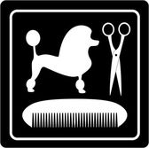 Poodle dog, scissors and comb black icon — Cтоковый вектор