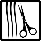 Scissors and hair, barbershop icon — Stock Vector