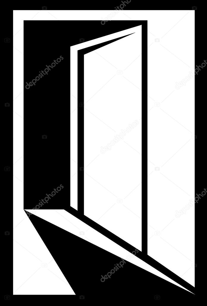 Open Door Icon Vector Black And White Icon With Open Door Silhouette Vector by Kelttt