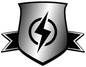 Shield with lightning - power symbol — Stock Vector