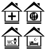 Medical, wc, food and bed on home icon — Stock Vector