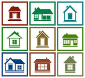 Set  colorful house icon — Stock Vector