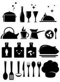 Set kitchen tools silhouette — Vector de stock