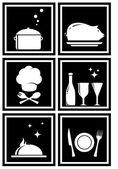 Icons with restaurant objects — Stock Vector