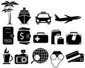 Set black travel objects — Stock Vector