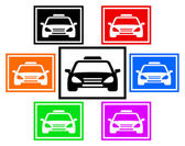 Set colorful icon with taxi car — Stock Vector