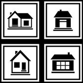 Set house on white backgrounds icon — Stock Vector
