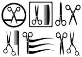 Scissors icons with comb for hair salon — Stock Vector