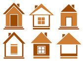 Set brown isolated house — Stockvektor
