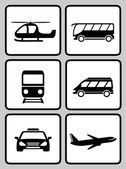 Set icons with transport silhouette — Stock Vector