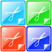 Colorful buttons set with scissors — Stock Vector