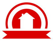 Red real estate symbol — Stock Vector