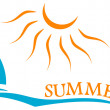 Summer time symbol with yacht and sun — Stock Vector #47352647