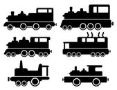 Set with cargo train silhouette — Stock vektor