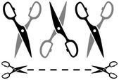 Set metal scissors with dotted line — Stock Vector