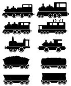 Set train and railroad car — Stock Vector