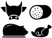 Set food icon for meat production — Stock Vector