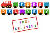 Simbolo di consegna gratuita - treno con auto colorata — Vettoriale Stock