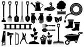 Set black garden tools — Stock Vector