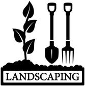Landscaping icon with sprout and gardening tools — Stock Vector