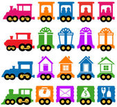 Set train - delivery services icons — Stock Vector