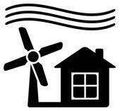 Moinho de vento, fonte de energia alternativa para casa — Vetorial Stock