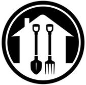 Garden landscaping icon with shovel and pitchfork — Vecteur