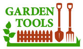 Landscaping icon with garden tools — Vecteur