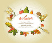 Autumn background illustration for happy thanksgiving day — Stock Vector