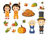 Illustrated set of thanksgiving icons — Stock Vector