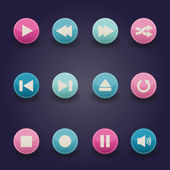 Media-player-buttons-auflistung — Stockvektor