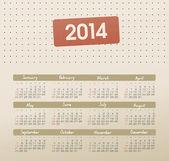 Takvim 2014 — Stok Vektör