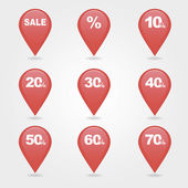 Mapping pins icons SALE — Stock Vector