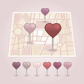 Map pointer with heart icon — Stock Vector