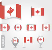 The Canadian flag - set of icons and flags — Stock Vector