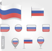 The Russian flag - set of icons and flags — Stock Vector