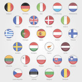 Icons depicting the flags of the EU countries — Stock Vector
