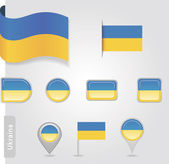 The Ukrainian flag - set of icons and flags — Wektor stockowy