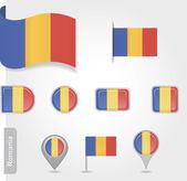 Icona bandiera romena — Vettoriale Stock