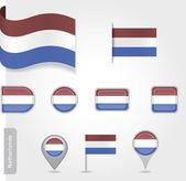 Flaga holandia - zestaw ikon i flagi — Wektor stockowy