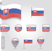 The Slovakia flag - set of icons and flags — Stock Vector