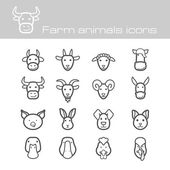 Farm animals icons — Stock Vector