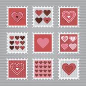 快乐情人节邮票 — 图库矢量图片