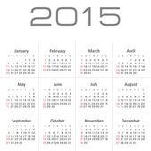 Simple calendar for 2015 year vector — Stock Vector