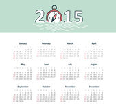 Marine calendar 2015 year with compass — Stockvector