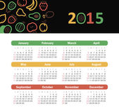 Calendar 2015 year with fruit icons — Stock Vector